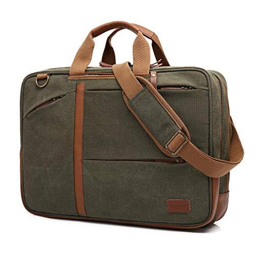 CoolBell 17,3 Zoll umwandelbar Aktentasche Rucksack Messenger Bag Mehrzweck Umhängetasche Business Travel Backpack Notebook Schultertasche Laptop Tasche für Laptop Herren(Canvas Grün) -
