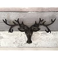 Shabby Cast Iron Antique Style Rustic Stag Deer Coat Rack Antlers Wall Hook