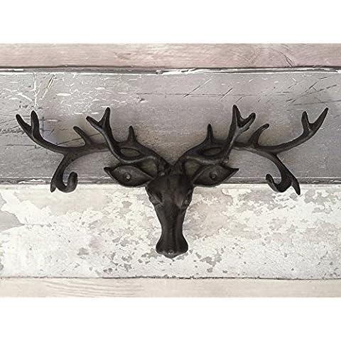 Moldeada en mal estilo de la antigüedad del hierro Escudo de macho rústico ciervos Sistema para colgar la pared Antlers