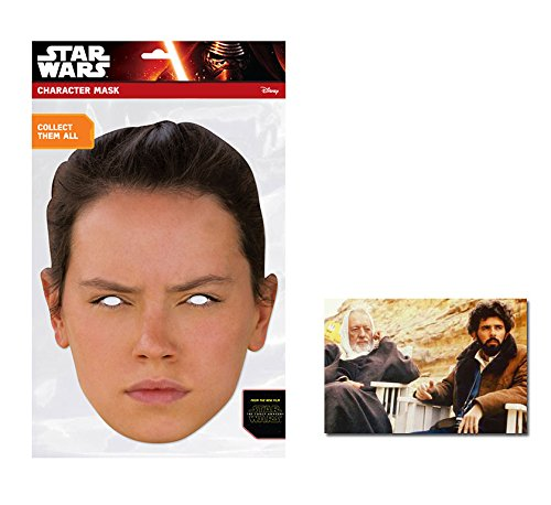 Star Wars Promi Kostüm - Rey Star Wars Force Awakens Single Karte Partei Gesichtsmasken (Maske) Enthält 6X4 (15X10Cm) starfoto