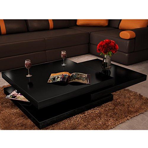 Festnight Table Basse de Salon avec 3 Plateaux Carrée Noir laqué carrée pivotante