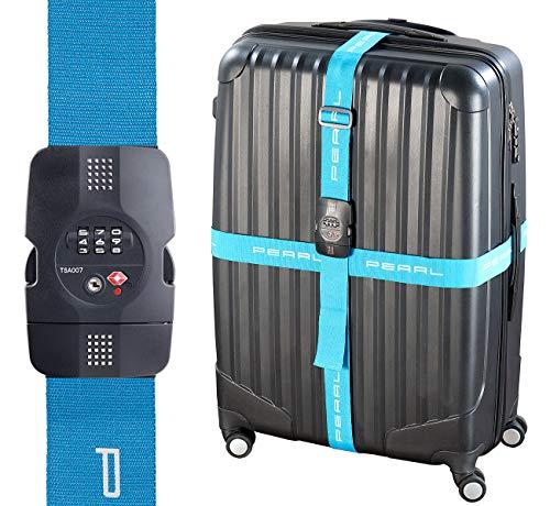 PEARL Kofferband: Kreuz-Koffergurt mit TSA-zertifiziertem Zahlenschloss, 5 x 400 cm (Kreuzkoffergurte)
