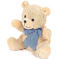 Preisvergleich für Teddybär mit Wunschnamen und Datum - von STEINER - Kuscheltier handgefertigt | heller Knuddelbär mit blauer Schleife | Geschenk-Idee für Weihnachten & zur Geburt