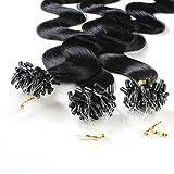 hair2heart 150 x Microring Loop Extensions aus Echthaar, 40cm, 0,5g Strähnen, gewellt - Farbe 1 Schwarz