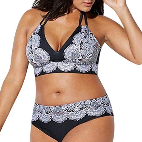 FRAUIT Damen Plus Size Bedruckte Träger hängen Bikini Split Badeanzug Verband Druck Gepolsterter BH Bikini Split Body Badeanzug Beachwear