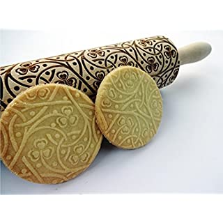 Embossing rolling pin IRISH CLOVER KNOT. Wooden embossing rolling pin with Irish pattern . Laser engraved dough roller by Algis