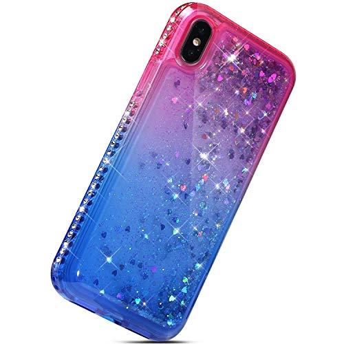 Herbests Kompatibel mit iPhone XS/iPhone XR Handyhülle Bling Glitzer Diamond Dynamisch Treibsand Fließend Flüssigkeit Transparent Hülle TPU Silikon Handyhülle Liquid Tasche,Rosa + Blau