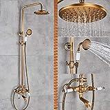 Rubinetto per doccia in ottone antico con mensola per prodotti. Testa per pioggia. Doppi manici fissati al muro