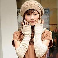 ZHGI Fashion ladies long lane flanella Principessa Manicotto tubo braccio metà esposta significa perdita di caldo inverno guanti,Beige
