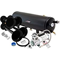 ‏‪Vixen Horns Train Horn Kit for Trucks/Car/Semi. Complete Onboard System- 200psi Air Compressor, 3 Gallon Tank, 4 Trumpets. Super Loud dB. Fits Vehicles Like Pickup/Jeep/RV/SUV 12v VXO8330/4114B‬‏