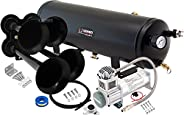 Vixen Horns Train Horn Kit for Trucks/Car/Semi. Complete Onboard System- 200psi Air Compressor, 3 Gallon Tank,