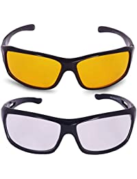 d130ec6f55c Hipe Eagle Day and Night Vision Goggles for Riding Bikes Combo Pack of  Driving Sunglasses for Men Women Boys   Girls (Clear - Yellow…