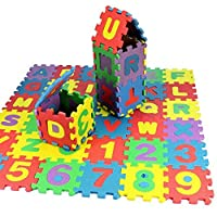 Feli546Bruce Carpet Mats, 36Pcs/Set Child Kids Novelty Alphabet Number EVA Foam Puzzle Learning Mats Toy for Living Room Bedroom Sofa Floor Rugs