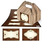 8 kleine Mini-Geschenkkarton Faltschachtel braun natur 9 x 12 x 6 cm ohne Griff + 8 braun beige nostalgische leere blanko Etiketten in Lederoptik 7 x 5 cm z. Beschriften