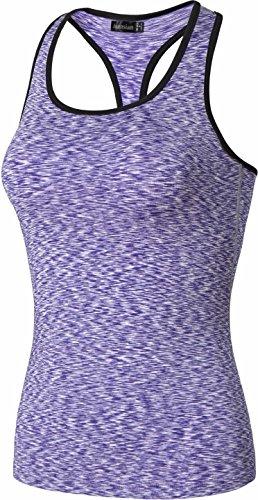 Jeansian Femme Casual Tops Sport Gilet T-Shirt Women Training Fitness Yoga 3 Packs Elastic Quick-Drying Tops Vests MFN1_SMF001 SMF002_PackF: Green + Orange + Purple