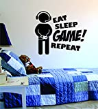 Eat Sleep GAME Repeat Version 2 Quote Decal Sticker Wall Vinyl Art Design Gamer Cool Funny Game Room by Boop Decals