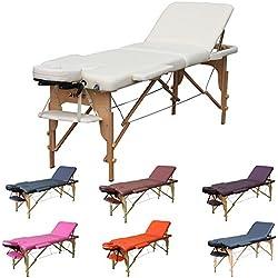 H-ROOT Mesa de Masaje de 3 Secciones Ligera Portátil Camilla de Masaje Mesa Terapeuta Tatoo Salón de Belleza Reiki Sanación Masaje Sueco 13,5 KG (Crema)