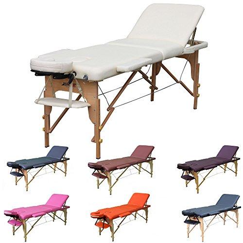 H-ROOT 3 Zonen Massagetisch Leichtes tragbares Couch Bett Sockel Therapie Tatoo Salon Reiki Healing Schwedische Massage 13.5KG (Sahne) Test