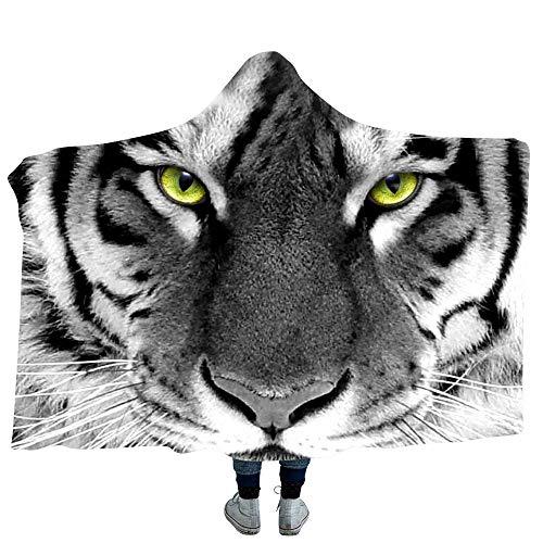 3D gedruckt Mantel Tiger Serie Doppelschicht warme Plüsch TV Decke Sherpa Frauen & Mädchen, warme Geschenk Familienfreund, anpassbar,A,59