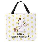 Mr. & Mrs. Panda Tragetasche, Strandtasche, Shopper Einhorn Näherin mit Spruch - Farbe Weiß