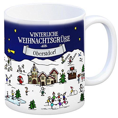 Oberstdorf Weihnachten Kaffeebecher mit winterlichen Weihnachtsgrüßen - Tasse, Weihnachtsmarkt, Weihnachten, Rentier, Geschenkidee, Geschenk