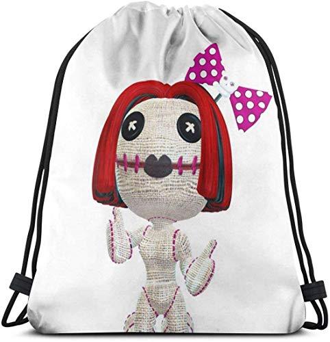 NA schöne weibliche Voodoo Puppe Personalisierbarer klassischer tragbarer Rucksack mit Kordelzug 35,8 x 39,9 cm für Fitnessstudio, Schule