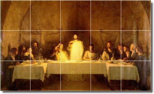 PASCAL DAGNAN-BOUVERET RELIGIOSA PARED MURAL DE AZULEJOS 6  12 75X 21 2CM CON (15) 4 25X 4 25AZULEJOS DE CERAMICA