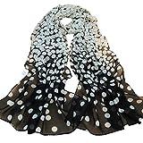 Sannysis Damen Punkt-lange weiche Verpackungs-Silk Chiffon-Schals (Schwarz)