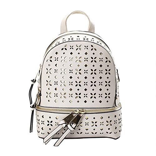 Damen Schultertasche Trend Rucksack PU Freizeittasche White