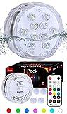 Qoolife Magnetische Unterwasserlichter - RF-ferngesteuerte neue AA-Version Tauch-LED-Licht für...