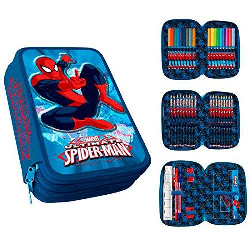Ultimate spiderman astuccio plumier 3 piani con materiale scolastico completo