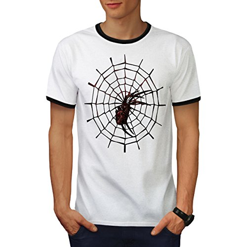 Pinguin Ringer T-shirt (Rot Spinne Netz Tier Spinne Seide Herren M Ringer T-shirt | Wellcoda)
