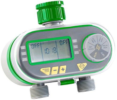 Royal Gardineer Wasserzeitschaltuhr: Digitaler Bewässerungscomputer BWC-200 mit 2 Anschlüssen (Automatische Bewässerung)