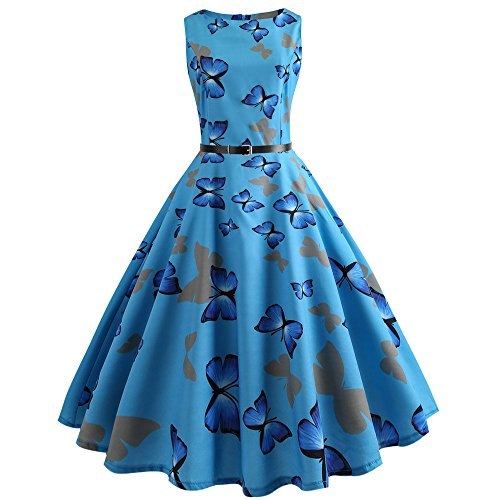 GOKOMO Damen 50er Retro Vintage Rockabilly Cocktail Party V-Ausschnitt Abendkleid(Blau,XX-Large)