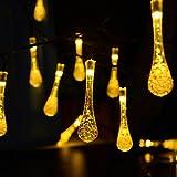 Solar Lichterkette, Aohro 30 LEDs Wassertropfen 6.5M Solar String Lights Wasserdicht Dekoratives Licht für Garten, Weihnachten, Outdoor Party, Balkon, Hochzeit, Fest Deko usw(Warmweiß)