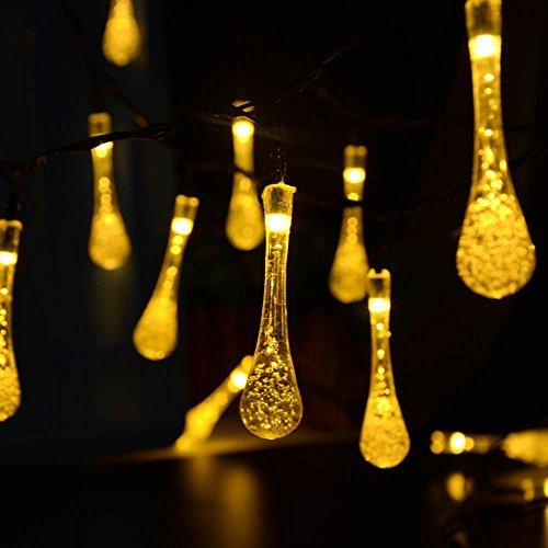 Aohro Guirlande Lumineuse Solaire 30 LED 6.5M 2 modes led exterieur lampe imperméable pour le jardin, Patio, Maison, Arbre de Noël, les Parties, Mariage Fête de Noël(Blanc chaud)