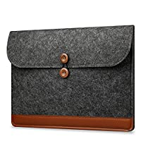 KimTime 15 - 15.4 Inch Envelope Style Stitching Computer Laptop Felt Bag For Acer / Asus / Dell / Fujitsu / Lenovo / HP / Samsung / Sony (Dark Grey)