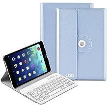 iPad mini funda con teclado,COO IPad Mini 1 2 3 Funda de teclado con teclado Bluetooth extraíble ,teclado Inalambrico QWERTY Eapañol y 360 grados de rotación Soporte de varios ángulos (Azul)