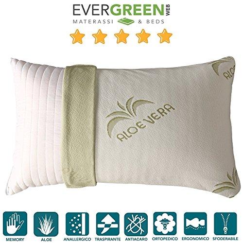 Evergreenweb - cuscino fiocco di memory foam con fodera aloe vera 42x72 alto 15 cm, modello saponetta, adatto per dolori cervicali, federa sfoderabile e lavabile, guanciali cuscini letto antiacaro