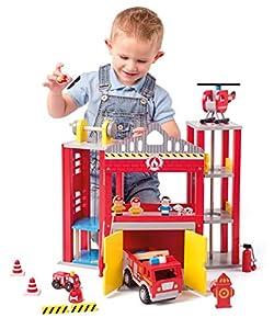 Woodyland 102191810 - Estación de Bomberos Grande con Camiones de Juguete, Color Rojo