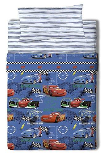 Disney Cars Maximum Juego de Sábanas, Algodón-Poliéster, Azul, Cama 80/95 (Twin), 200.0x90.0x25.0...