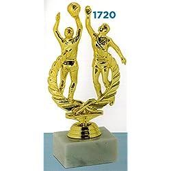 Trofeo premiazioni Baloncesto Acción–H cm 18,5–Manivela–Base de mármol Figura de plástico Made in Italy