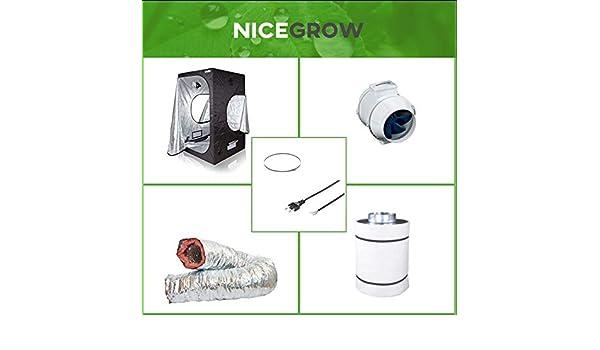 Nice Grow Growzelt Abluft-Set Dark Box 120 Blauberg Turbo 187cbm//h Aktivkohlefilter