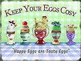 eier Klassisch Frühstück Essen Eierbecher Heim Küche Cafe Retro Behalten sie ihr gemütlich Froh sind tasty Eier. in tassen mit wollig Hüte. gestrickt. Lustig Humor Metall/Stahl Wand Zeichen