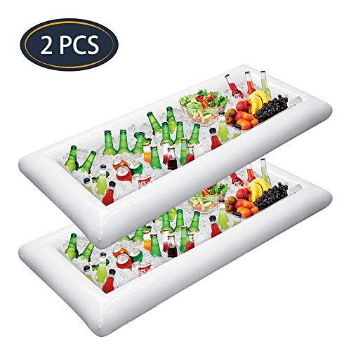 JINRU 2 STÜCKE Aufblasbare Servierriegel EIS Buffet Salat Tabletts Essen Getränkehalter Kühler Container Indoor Outdoor BBQ Picknick Pool Party Supplies
