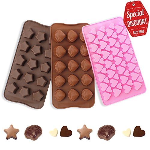SveBake Silikon Schokoladenform - Silikonform für Schokoladen Herstellen, Party-Schokolade, Sterne, Liebe, Muscheln Stil, Set of 3