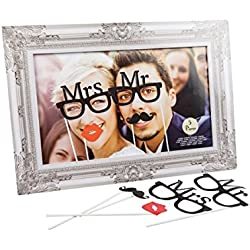 TradeShopTraesio® - KIT PARTY WEDDING PHOTO BOOTH PER FOTOGRAFIE SELFIE CON CORNICE MR AND MRS