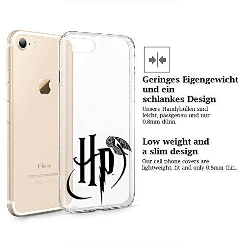 finoo | iPhone 7 Weiche flexible lizensierte Silikon-Handy-Hülle | Transparente TPU Cover Schale mit Harry Potter Motiv | Tasche Case mit Ultra Slim Rundum-schutz | Harry Potter Portrait Harry Potter Logo Quidditch transparent