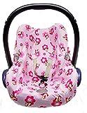 Sweet Baby ** 100% Jersey Fit ** KomplettSet Schonbezug/Hoody/Verdeck/Gurtpolster für Babyschale Maxi-Cosi Cabrio, Pebble und andere (Sitzbezug, Pink Pony)