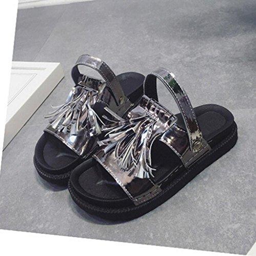 Ouneed® Femme Frange Sandale & Mules Flip Flop Gladiateur Petit Compensé Gris